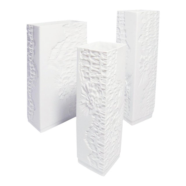 White Modernist Bisque Vases with Fossil Design - Set of 3 For Sale