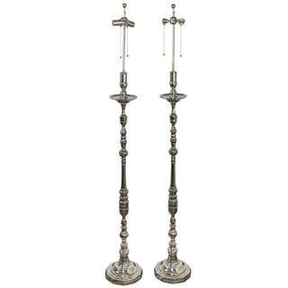 Pair of French Nickel-Plated Floor Lamps With Dodecagon Shaped Bases For Sale