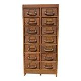 Image of World War II Oak Card Catalog Cabinet With Bakelite Handles For Sale