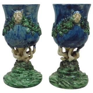 19th Century Renaissance Revival Majolica Palissy Chalices With Grapes - a Pair For Sale