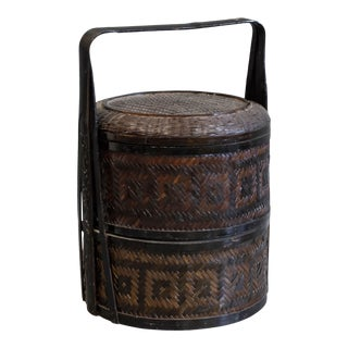 Vintage Chinese Layered Food Basket For Sale
