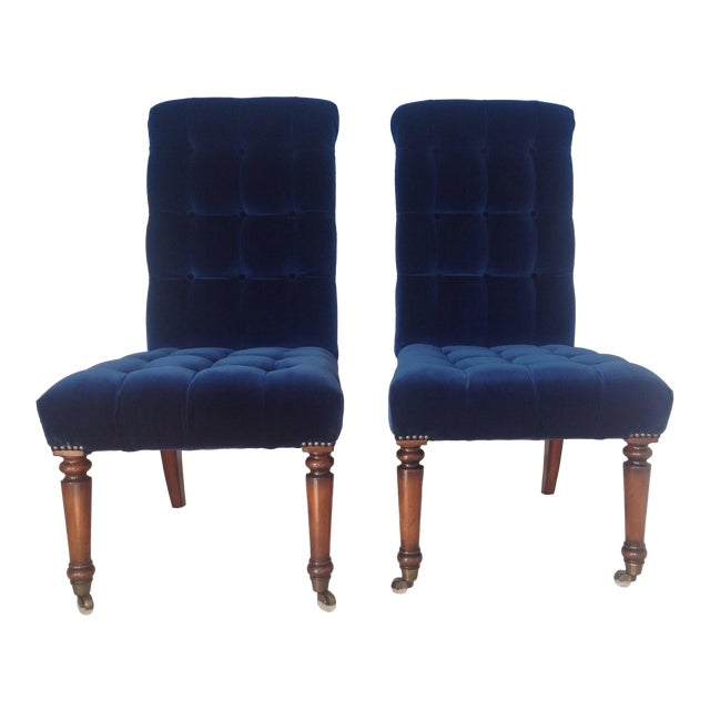 Barclay Butera Velvet Tufted Dining Chairs - Pair - Image 1 of 8