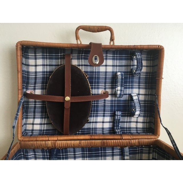 Blue Plaid-Lined Rattan Picnic Basket - Vintage - Image 7 of 11