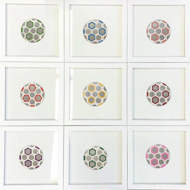 Wood Minimalist Geometric Ink Drawings by Natasha Mistry- Set of 9 For Sale - Image 7 of 9