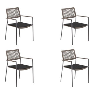 Outdoor Arm Chair, Carbon and Mocha with Pepper Pad, Set of 4 For Sale