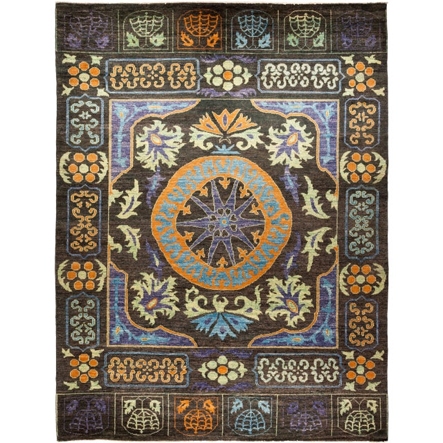 Blue and Orange Kaitag Rug For Sale