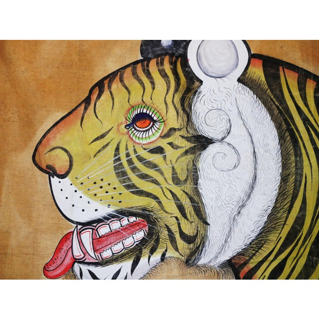 A rarely found, captivating, original, very large tapestry painting of a tiger on silk tapestry in excellent condition....