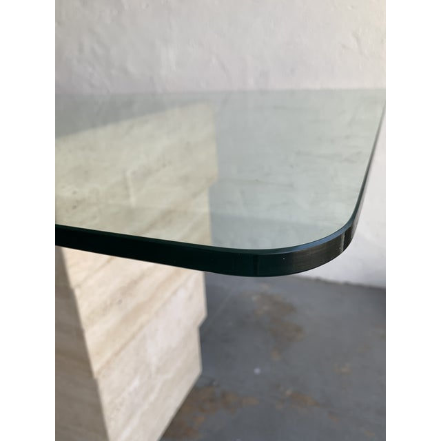 Tan Post Modern Travertine Dining Table With Glass Top For Sale - Image 8 of 12
