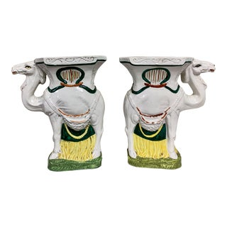 Pair Antique Staffordshire Camel Figurines For Sale
