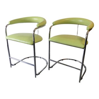 Vintage Mid-Century Anton Lorenz for Thonet Chrome Counter Height Stools - a Pair For Sale
