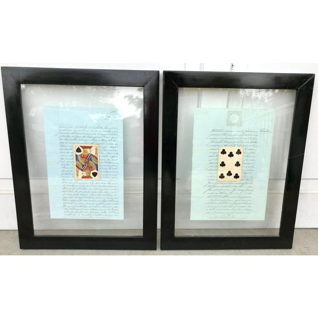 Presented as a set of two or individually, this collage features a French letter in cursive writing with a large vintage...