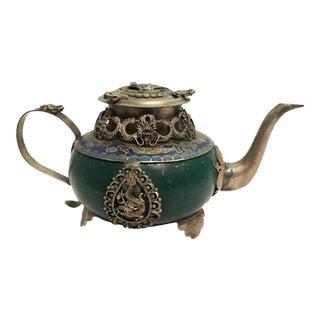 Asia Teapot w/ Enamel/Stone and Silver