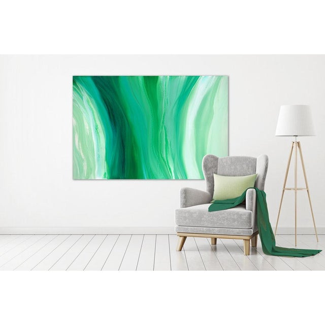 Abstract green acrylic painting; Gallery-wrapped canvas sides painted silver. Ready to hang. Framing optional. Signed and...