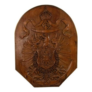 Austrian Hungarian Walnut Eagle Coat of Arms For Sale