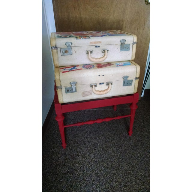 Vintage Suitcase Storage Accent Table - Image 2 of 9