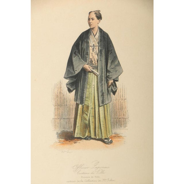 Gold Vintage 19th Century Japanese Costumes Hand Colored French Intaglio Prints - a Pair For Sale - Image 8 of 11