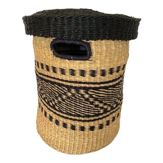 Hand-Woven Dark Blue, Black and Natural Covered Basket For Sale