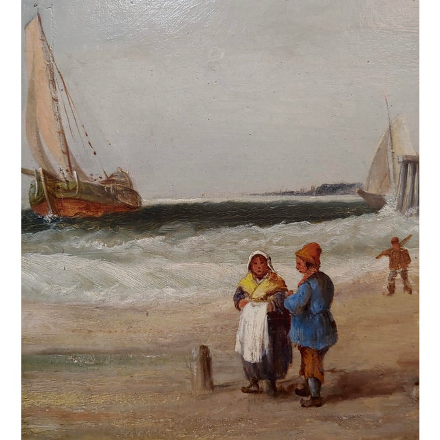 "Canvas 19th Century ""Fishing Boats"" Large Oil Painting by C.H. Cook, 1878 For Sale - Image 7 of 12"