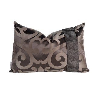 Contemporary Chocolate Brown Geometric Satin Pillow With Beaded Trim - 16 X 24 For Sale