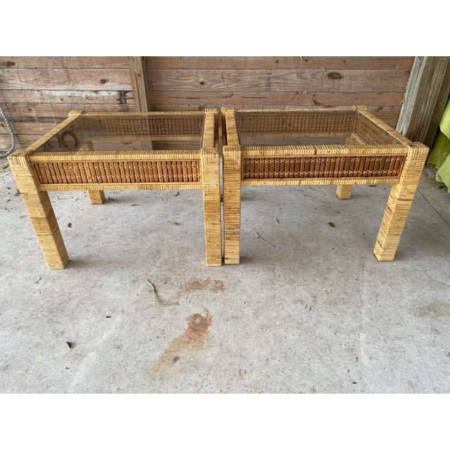Vintage Wicker Wrapped Bamboo Insert Side Tables - a Pair For Sale - Image 9 of 13