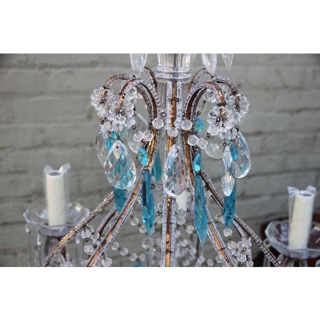 Aqua Italian Crystal Beaded Chandelier $3,400 For Sale - Image 8 of 9