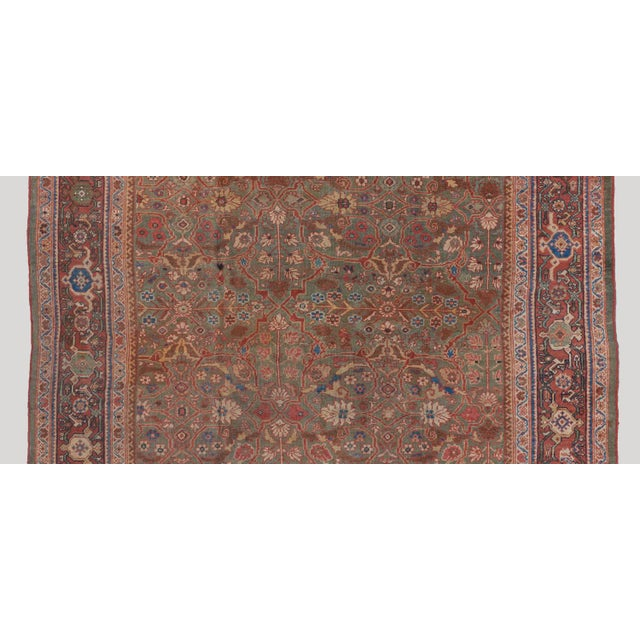 Traditional Olive Ground Mahal Carpet For Sale - Image 3 of 5