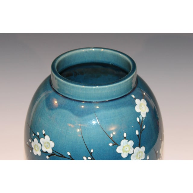 Blue Antique Awaji Pottery Japanese Prunus Cherry Blossom Signed Ikebana Flower Vase For Sale - Image 8 of 10