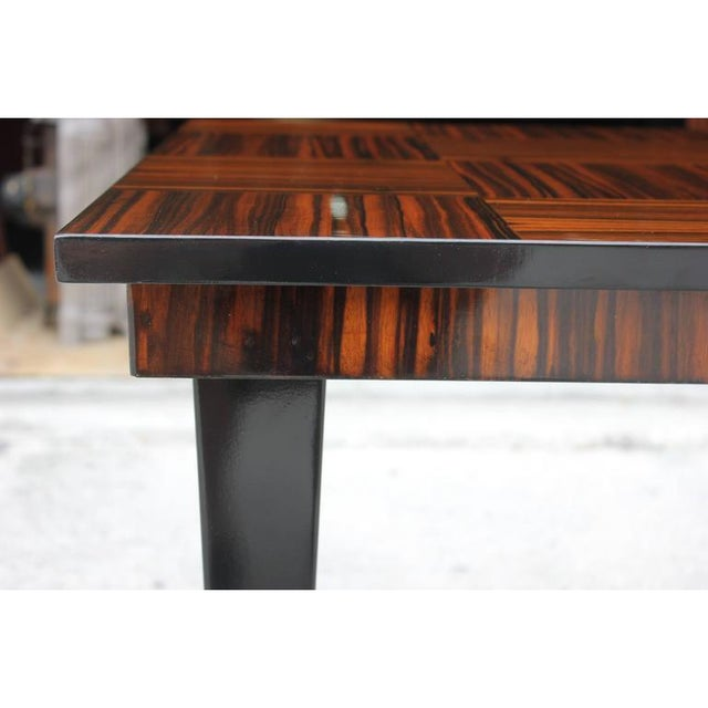 Art Deco 1940s Vintage French Art Deco Macassar Ebony Game Table For Sale - Image 3 of 11