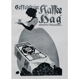 1914 German Art Nouveau Coffee Poster, Kaffee Hag (Matted) For Sale