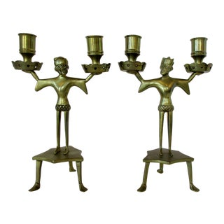 Medieval Men Candelabrum, a Pair For Sale