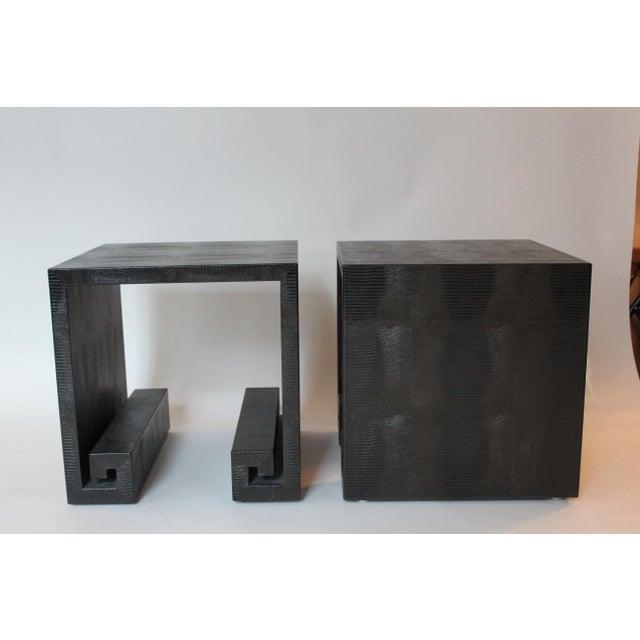 Karl Springer LTD Modern Embossed Leather Greek-Key End Tables - a Pair For Sale - Image 4 of 7