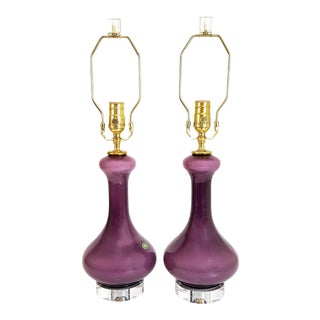 1960s Mid-Century Purple Murano Glass & Lucite Lamps - a Pair