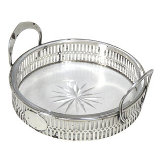 Antique Sterling Silver & Cut Crystal Champagne Coaster For Sale