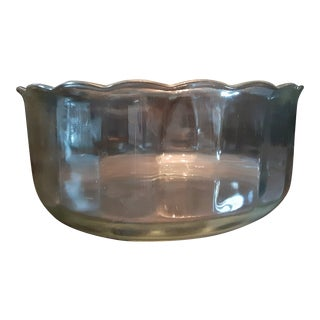 Large Scalloped Mid Century Art Deco Glass Bowl For Sale