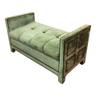 Light Green Velvet Settee Bench For Sale