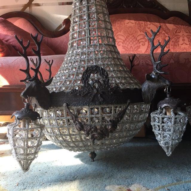 Cabin Dark Bronze Deer Stag Chandeliers - a Pair For Sale - Image 3 of 6