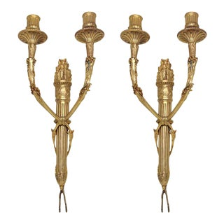 Gold Finish Torch Wall Sconces - A Pair