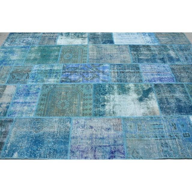 Blue Turkish Patchwork Rug - 6′10″ × 9′10″ - Image 4 of 6