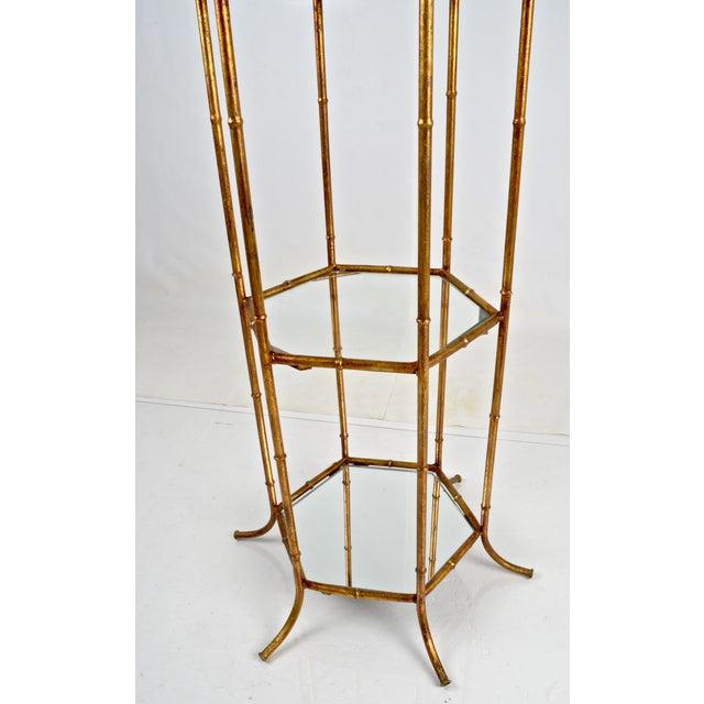 Metal Pagoda Form Etagere, Parcel Gilded For Sale - Image 7 of 10