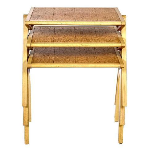 Vintage Jon Jansen Cork Top Stacking Tables - Set of 3 For Sale In Boston - Image 6 of 8