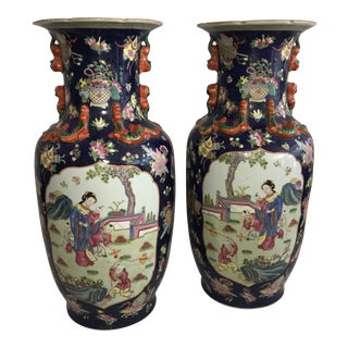 1960s Chinese Tall Ornate Porcelain Vases - a Pair