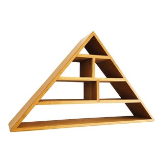 Vintage Wood Triangle Curio Shelf For Sale