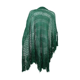 1930s Emerald Green Crochet Fringe Shawl For Sale