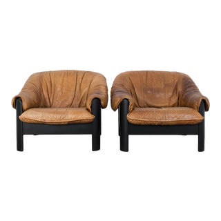1980s Leather Armchairs - a Pair For Sale