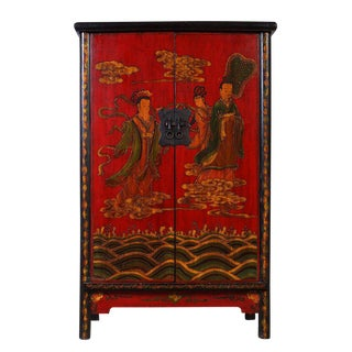 Antique Chinese ShaanXi Painted Cabinet Wardrobe For Sale