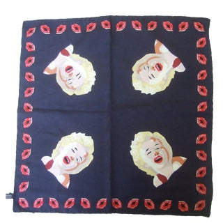 Marilyn Monroe Inspired Silk Pocket Scarf Made in Italy C 1990s For Sale