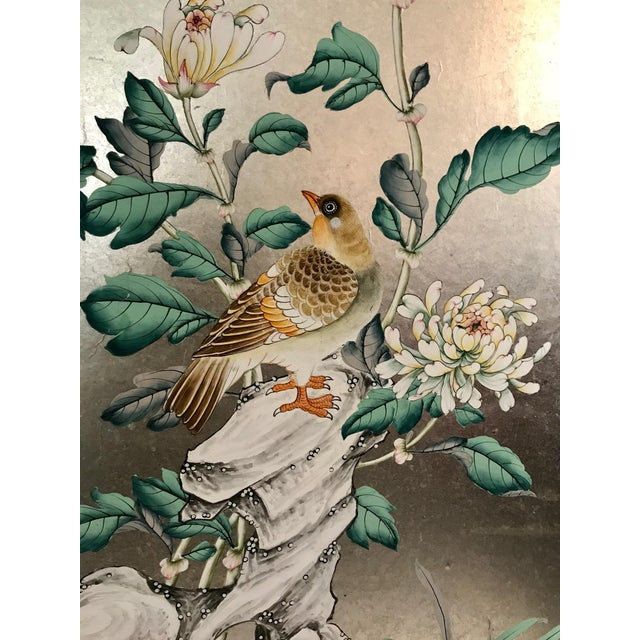 Handpainted Chinoiserie Wallpaper Panel, Silver Metal Leaf With Birds For Sale In Los Angeles - Image 6 of 8