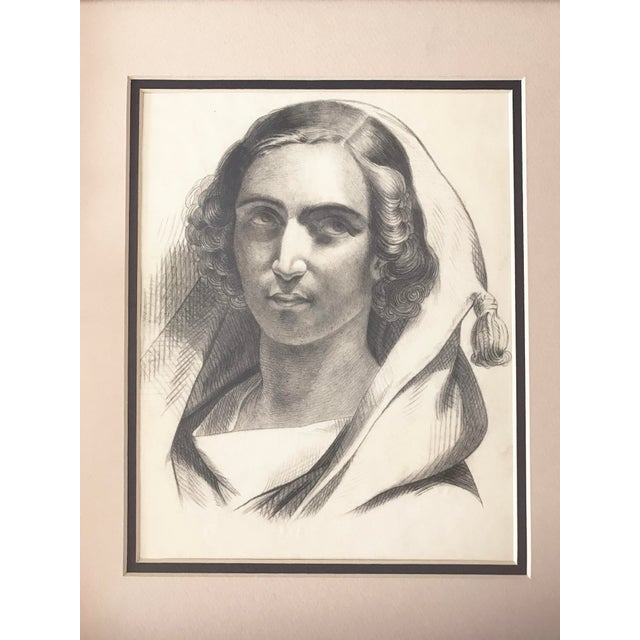 French pencil drawing portrait of a young woman from a group of drawings dating to 1847. Double matted and presented in a...