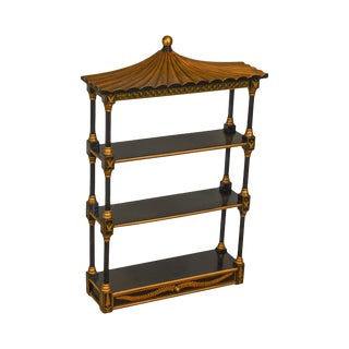 Chelsea House Pagoda Top Black and Gold Wall Shelf With Drawer For Sale
