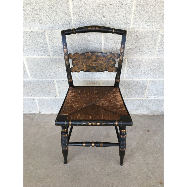 1940s L. Hitchcock Rush Bottom Bolster Turtle Back Side Chair For Sale - Image 10 of 10